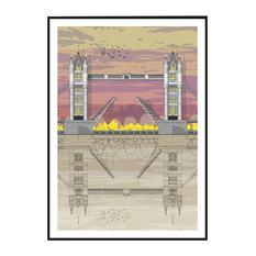 Tower Bridge Sunset Giclée Print, A4
