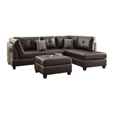 Leather Sectional Sofa Set With Left Or Right Hand Chaise And Ottoman Espresso