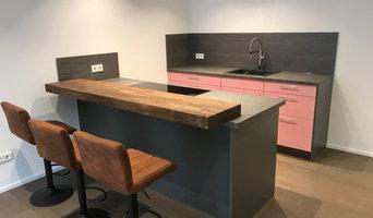 Kleine Küche in Rosa