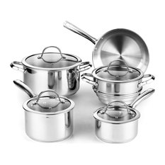 Cooks Standard 02492 9-Piece Classic Stainless-Steel Cookware Set