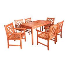 VIFAH - Outdoor Eucalyptus Rectangular Table - Garden Dining & Patio Tables