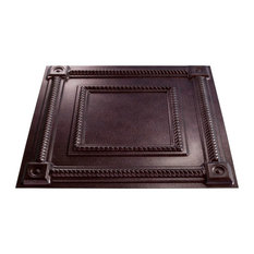 "24""x24"" Fasade Coffer Lay-in Ceiling Tile, Smoked Pewter"