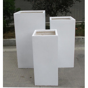 Tall Square Contemporary White Light Concrete Planter H80 L40 W40 cm