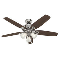 Ceiling Fan With 5 Brazilian Cherry/Harvest Mahogany Brushed Nickel