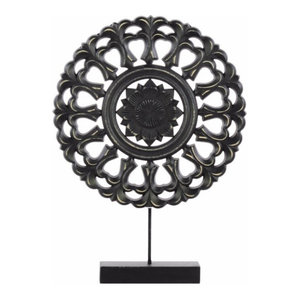 Wood Round Buddhist Wheel Ornament on Rectangular Stand, SM Matte Finish, Black