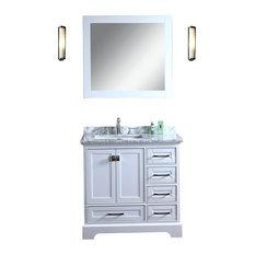 """Newport White 36"""" Single Sink Bathroom Vanity With Mirror by Stufurhome"""