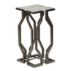 Open Geometic Form Accent Table In Antique Pewter Finish With White Granite Top