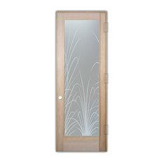 """Interior Door, Wispy Reeds, 1D Frosted, Douglas Fir, 28x80"""", Left/Push Open"""