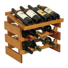 12-Bottle Solid Oak Wine Rack