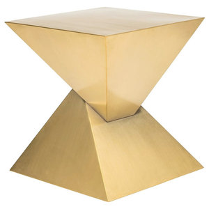 Giza Side Table, Stainless Steel End Table, Brushed Gold