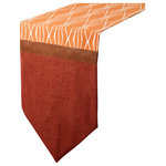 Shinehandmade - October Sunset Table Runner - Revamp your tabletop with the October Sunset Runner. This limited-edition piece features faux-leather trim and a burnt-orange-and-rust pattern.