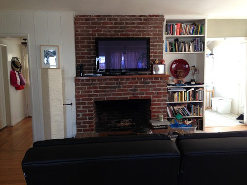 How to hide a giant brick fireplace - How to cover brick fireplace ...