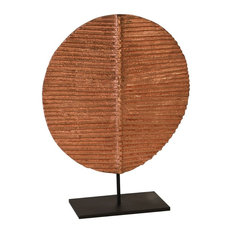 Carved Round Leaf on Metal Stand, Small