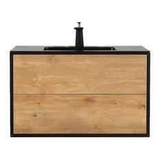 Eviva Vienna 36-inch White Oak With Black Frame Wall Mount Bathroom Vanity