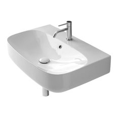 Round White Ceramic Wall Mounted Sink, One Hole