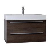 "CBI 35.5"" Wall-Mount Modern Bathroom Vanity, Gray Oak"