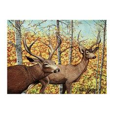 "Mike Bennett Mule Deer And Aspens Art Print, 9""x12"""