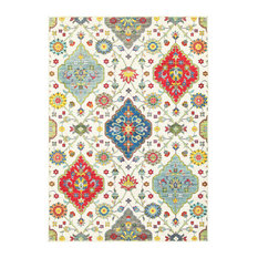 """Jillian Floral Medallions Ivory and Multi Area Rug, 7'10""""x10'10"""""""