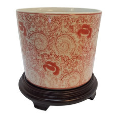 Porcelain Chinese Planter, Red And White Floral Design 8""