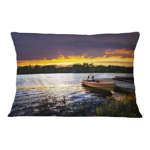 Designart CU11720-20-20-C Pier Over Coniston Water Panorama Wooden Sea Bridge Round Cushion Cover for Living Room Insert Printed On Both Side Sofa Throw Pillow 20