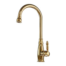 Turrubares Deck Mounted Kitchen Sink Faucet With Pull Down Sprayer, Gold