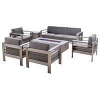 GDF Studio Coral Bay Outdoor Aluminum 7 Seater Chat Set with Fire Pit, Light Gra