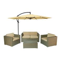 Cane Garden 5-Piece Outdoor Wicker Conversation Set, Light Brown/Beige