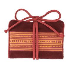 Novica Precious Hill Tribe, Red Cotton Blend Jewelry Roll