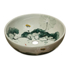 Porcelain Basin With Lotus Koi Pond Design