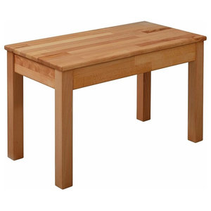 Small Rectangular Bench, Oak Finished Solid Wood, Traditional Design