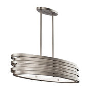 Oval Chandelier/Pendant 3-Light, Brushed Nickel