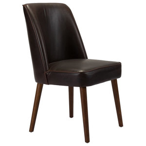Modern Contemporary Kitchen Room Dining Chair, Brown, Faux Leather Set of 2
