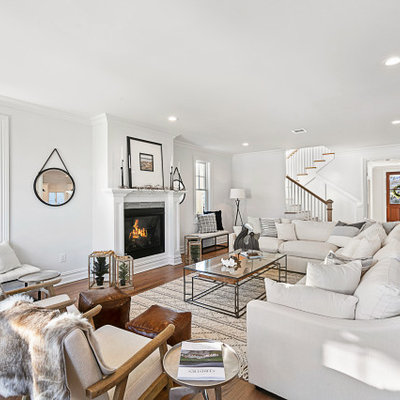 Example of a beach style home design design in New York