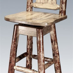 Counter Stools With Backs Dark Brown Stained Wooden Barstool