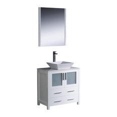 "Torino 30"" White Vanity, Vessel Sink Livenza Chrome Faucet"