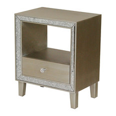 Heather Ann Creations - Bon Marche 1-Drawer Accent Cabinet With Antiqued Mirror Accents, Champagne - Nightstands and Bedside Tables