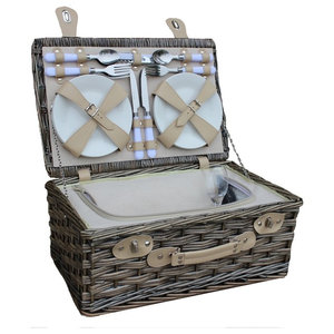 4-Person Garden Rose Chilled Wicker Fitted Picnic Basket