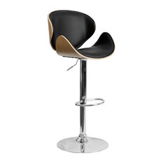 Beech Bentwood Adjustable Height Barstool With Curved Back And Black Vinyl Seat