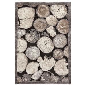 Woodland Think Cream Grey Rectangular Rug, 160x230 cm