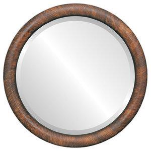 """Pasadena Framed Round Mirror in Vintage Walnut, 19""""x19"""""""