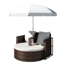 vidaXL Lounge Set Poly Rattan Brown Sunbed Parasol Garden Outdoor Umbrella