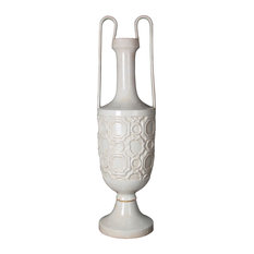 Privilege International White Ceramic Vase With Handles, Large