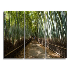 """Wide Pathway in Bamboo Forest"" Canvas Wall Art Print, 3 Panels, 36""x28"""