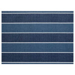 """Joita, llc - Madalena Stripe Navy Indoor/Outdoor Placemats, Finished Edge, Set of 2 - Set of 2 - MADALENA STRIPE (navy) is a placemat printed with jewel tone colors of blues and creams in a sophisticated pattern of bold stripes. Great transitional placemat or a placemat to update a traditional decor. Constructed with outdoor rated fabric and thread. Printed pattern on polyester fabric. To maintain the life of the placemat, bring indoors or protect from the elements when not in use. Machine washable cold, delicate. Lay flat to dry. Do not dry clean. Set of two placemats, 13"""" x 17 3/4"""" each."""