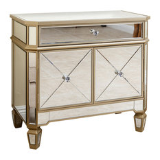 Abbyson Living   Alexis Gold Trim Mirrored Console Cabinet   Console Tables