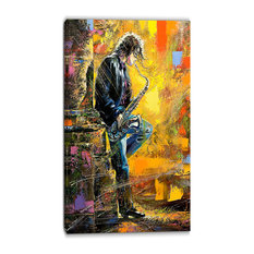 """""""Man With Saxophone"""" Contemporary Canvas Artwork, 32""""x16"""""""