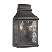 Forged Jefferson 2-Light Outdoor Sconce, Charcoal