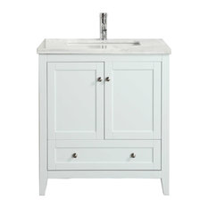 "Eviva Lime 30"" Bathroom Vanity With Top, White"