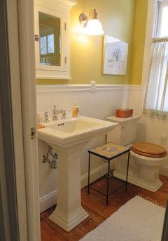 Cute I love my yellow bathroom Sherwin Williams white raisin