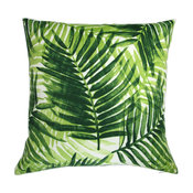 "18"" Outdoor Hawaiian Beach House Green Palm Leaf, Set of 2, Throw Pillow"